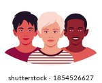 set of faces of boys. the heads ... | Shutterstock .eps vector #1854526627