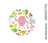 cute brain character with food... | Shutterstock .eps vector #1854527731