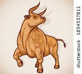 ox or taurus is sign of zodiac...   Shutterstock .eps vector #1854537811