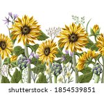 border with sunflowers bouquet  ... | Shutterstock .eps vector #1854539851