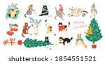 merry christmas  bundle of cats ... | Shutterstock .eps vector #1854551521