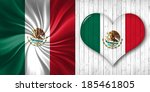 mexico  flag fabric heart  and... | Shutterstock . vector #185461805