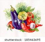 watercolor vegetables on white | Shutterstock . vector #185463695