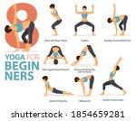 infographic 8 yoga poses for... | Shutterstock .eps vector #1854659281