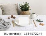 festive christmas table setting.... | Shutterstock . vector #1854672244