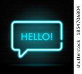 glowing neon rectangle speech...   Shutterstock .eps vector #1854706804