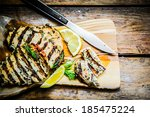 grilled chicken with herbs and... | Shutterstock . vector #185475224
