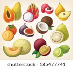 set of exotic fruit. vector | Shutterstock .eps vector #185477741