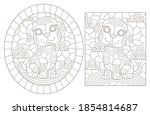 set of outline illustrations in ... | Shutterstock .eps vector #1854814687