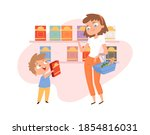 shopping with child. mother son ... | Shutterstock .eps vector #1854816031