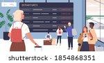 passengers looking at schedule...   Shutterstock .eps vector #1854868351