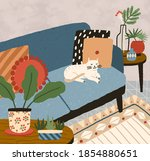 cozy apartment interior with... | Shutterstock .eps vector #1854880651