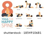 infographic 8 yoga poses for... | Shutterstock .eps vector #1854910681