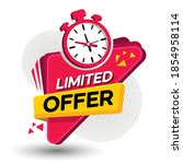 limited offer tag with a clock... | Shutterstock .eps vector #1854958114