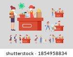 covid 19. cartoon people in...   Shutterstock .eps vector #1854958834