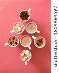 cups with hot chocolate with...   Shutterstock . vector #1854964597