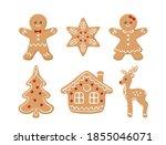 Gingerbread Cookies Set. Vector ...