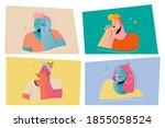 emotion  face expression set...   Shutterstock .eps vector #1855058524