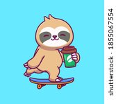 cute sloth skateboarding and... | Shutterstock .eps vector #1855067554