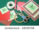 Christmas card making items. - stock photo