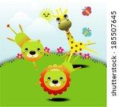 cartoon cute animals greeting... | Shutterstock .eps vector #185507645