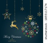 greeting card with christmas... | Shutterstock .eps vector #1855117174