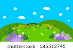 cartoon background with flowers | Shutterstock . vector #185512745