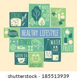 healthy lifestyle icons set  | Shutterstock .eps vector #185513939