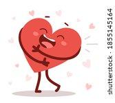 vector red cute happy heart... | Shutterstock .eps vector #1855145164