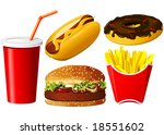 fast food icon set | Shutterstock . vector #18551602