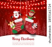 santa claus and friends in xmas ... | Shutterstock .eps vector #1855161724