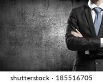 chest view of businessman with... | Shutterstock . vector #185516705