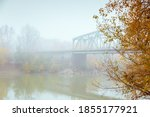 autumn on the banks of the... | Shutterstock . vector #1855177921