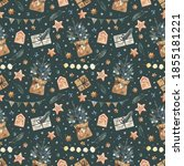 seamless pattern with... | Shutterstock . vector #1855181221
