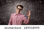 young funny man in glasses... | Shutterstock . vector #185518595
