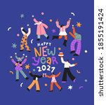 happy new year 2021 greeting... | Shutterstock .eps vector #1855191424