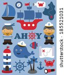 sea theme objects collection.... | Shutterstock .eps vector #185521031
