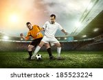 soccer player with ball in... | Shutterstock . vector #185523224