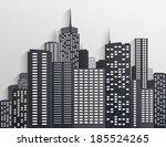 black and white city skyline | Shutterstock .eps vector #185524265
