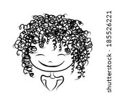 cute girl smiling  sketch for... | Shutterstock .eps vector #185526221