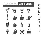 drinks icons gray series | Shutterstock .eps vector #185527571