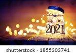 open 2021   christmas lights in ... | Shutterstock . vector #1855303741