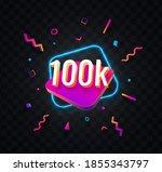 100k followers celebration in... | Shutterstock .eps vector #1855343797