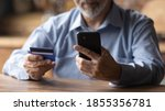Close Up Mature Man Using Phone ...