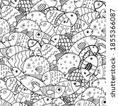 doodle fish black and white... | Shutterstock .eps vector #1855366087
