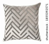 Small photo of Square Shape Chevron Throw Pillow Isolated on White. Plush Decorative Stitched Cushion with Feather Fill & Zipper Upholstered Zinc Polyester. Snug Lush Toss Pillow Front View. Interior Decoration
