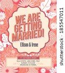 floral wedding invitation card... | Shutterstock .eps vector #185547011