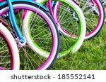 Bicycle Wheels In A Row