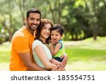 beautiful young indian family... | Shutterstock . vector #185554751