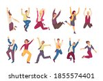 happy jumping office business... | Shutterstock .eps vector #1855574401